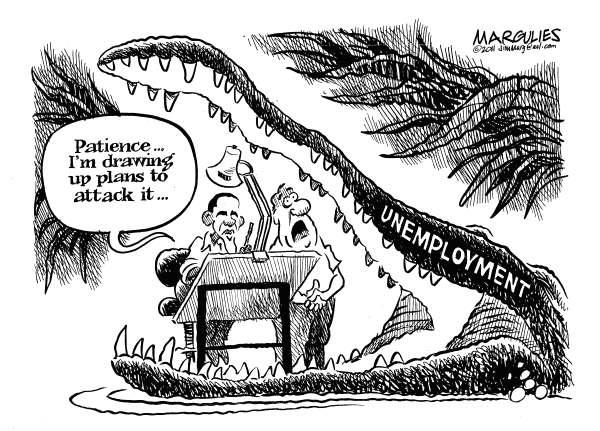 Проблема безработицы в американской карикатуре: большая крокодила