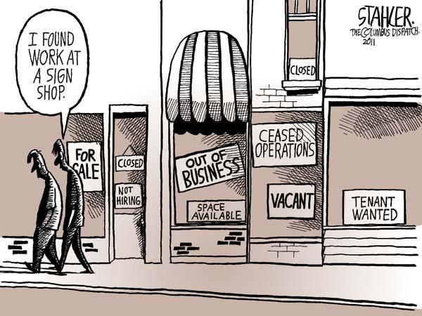 Проблема безработицы в американской карикатуре: таблички атакуют!