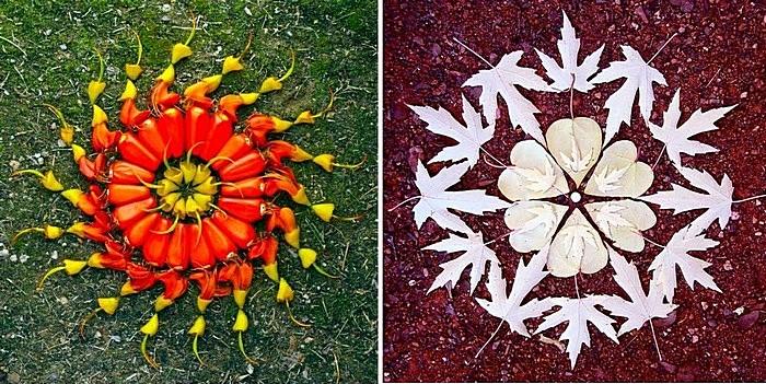 Мандалы своими руками: листья и овощи, бегающие по кругу