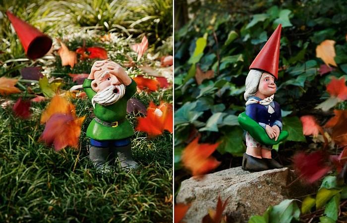 Садовые гномы против ветра: забавная реклама машины для удаления листьев