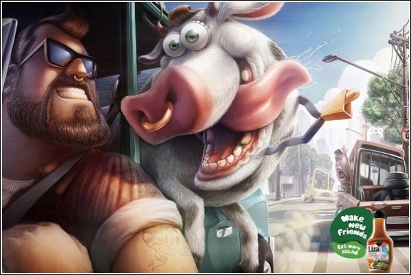 Яркая реклама салатной заправки: дружба с коровой
