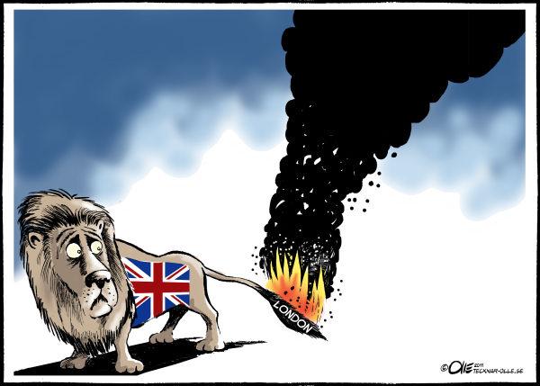 Пожар на кисточке хвоста: беспорядки в Лондоне глазами художников-карикатуристов