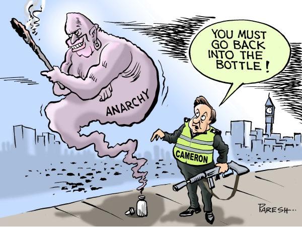 Джинн из бутылки с зажигательной смесью: *Возвращайся в бутылку!*