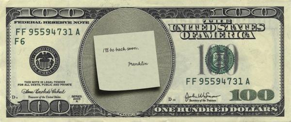 Забавная модернизация 100 долларов США: Франклин устал и ушел