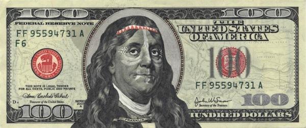 Забавная модернизация 100 долларов США: Франклин-индеец