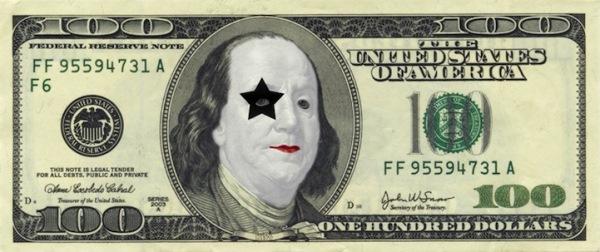 Забавная модернизация 100 долларов США: Франклин - фанат группы «Kiss»