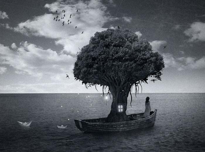Дом, дерево, человек: сюрреалистический фотоарт Мануэля Родригеса Санчеса