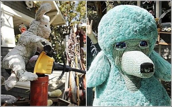 Искусство против мусора: кролик-пират и голубой щенок