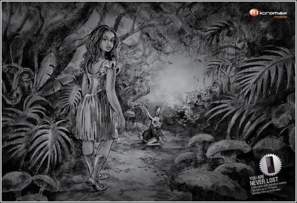 Креативная мобильная реклама: Алиса в Стране чудес
