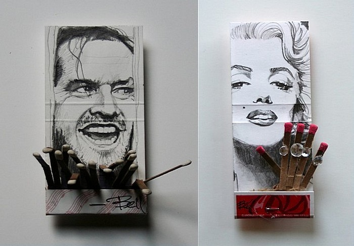 Поделки из спичечных коробков: Джек Николсон и Мэрилин Монро