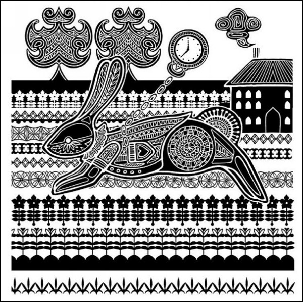 Иллюстрации к *Алисе* в стиле этно: Белый Кролик