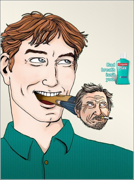 Реклама ополаскивателя для полости рта: после перекура