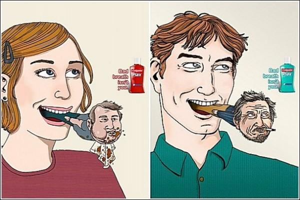 Второе зловонное я: рисованная реклама ополаскивателя для полости рта