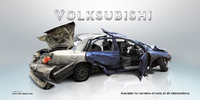 «Фольксубиши»: новые модели авто + креативное напоминание о ПДД