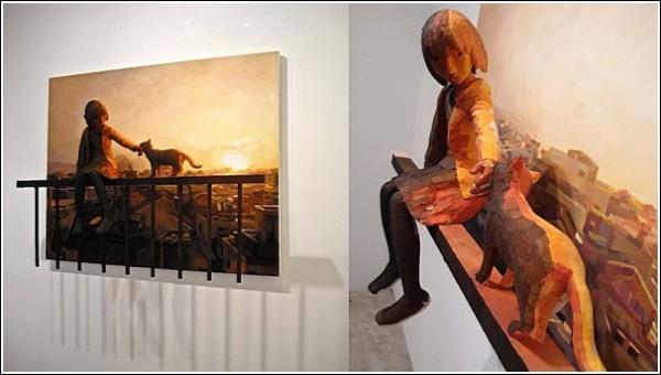 Картины-скульптуры Шинтаро Охаты: девочка и кошка