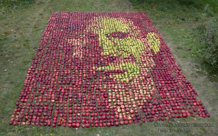 Портрет Стива Джобса из яблок: съедобный арт-объект Оливье Лефевра