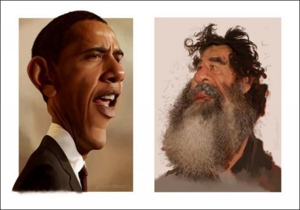 ХХ век в шаржах. Веселые рисунки Доминика Филиберта: Барак Обама и Саддам Хусейн