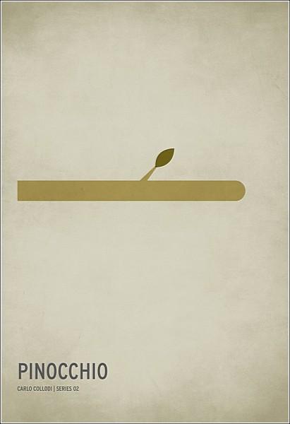 Остроумные минималистичные плакаты: «Приключения Пиноккио»