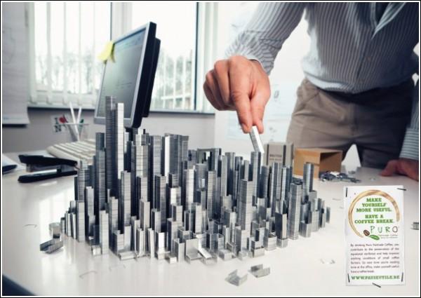 Креативные рекламные постеры: город из скоб для степлера