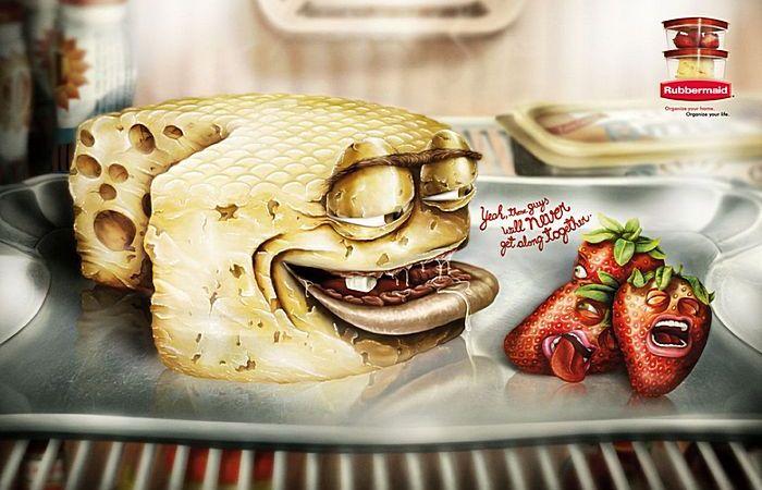 Сырный дух: рисованная реклама контейнеров для еды