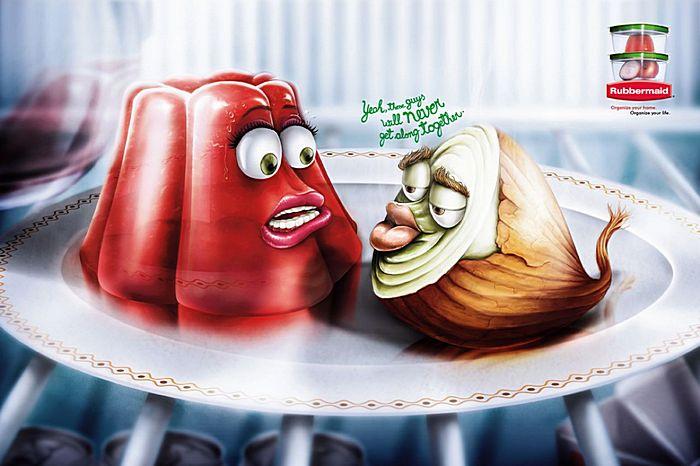 Луковый дух: рисованная реклама контейнеров для еды