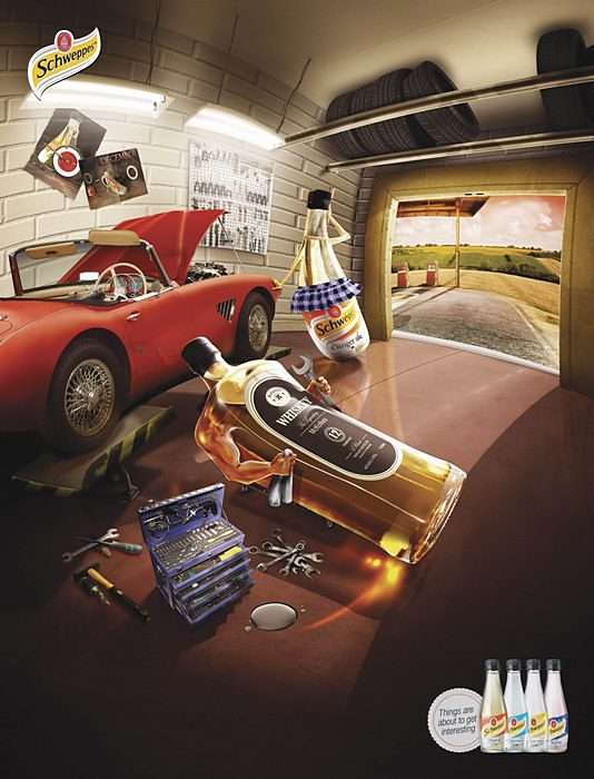 Сцена в гараже: креативная реклама о частной жизни напитков