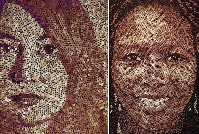 Женские портреты из винных пробок: творчество Скотта Гандерсена