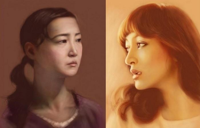 Портреты, нарисованные пальцами на айподе: цифровая живопись Сейку Ямаоки