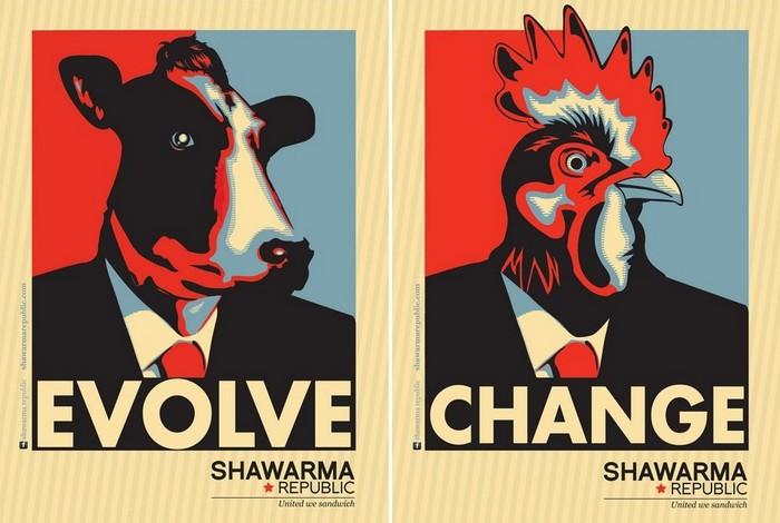 Плакаты Обамы пошли на шаурму: ироничная реклама ресторана быстрого питания