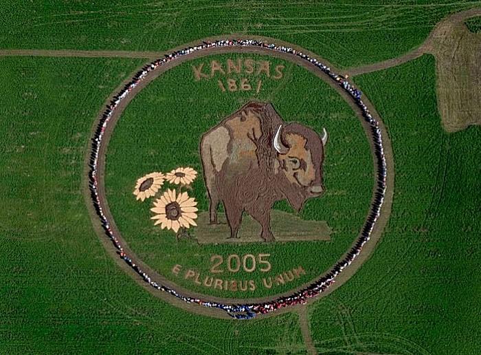 Рисунки на полях: картина в честь основания штата Канзас