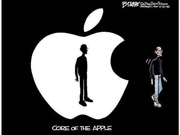 Сердцевина *Эпл*: художники-карикатуристы об отставке Стива Джобса
