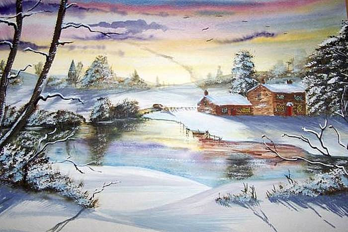 Зимний пейзаж акварельные рисунки