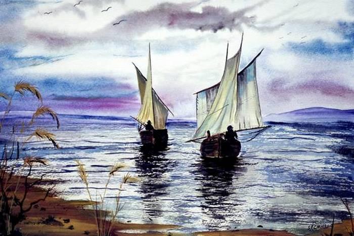 Акварельные рисунки Стива Чемберса: парусники
