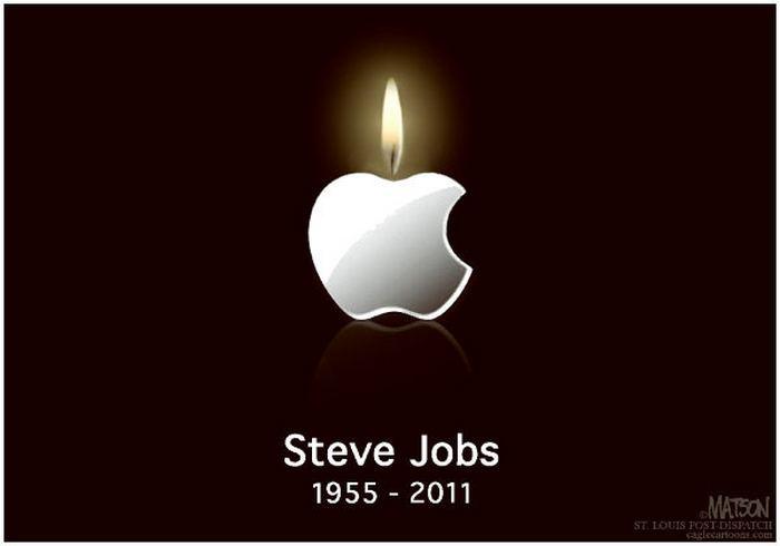 Стив Джобс умер. Да здравствует Стив Джобс! Рисунки художников-карикатуристов в память об экс-главе «Эпл»