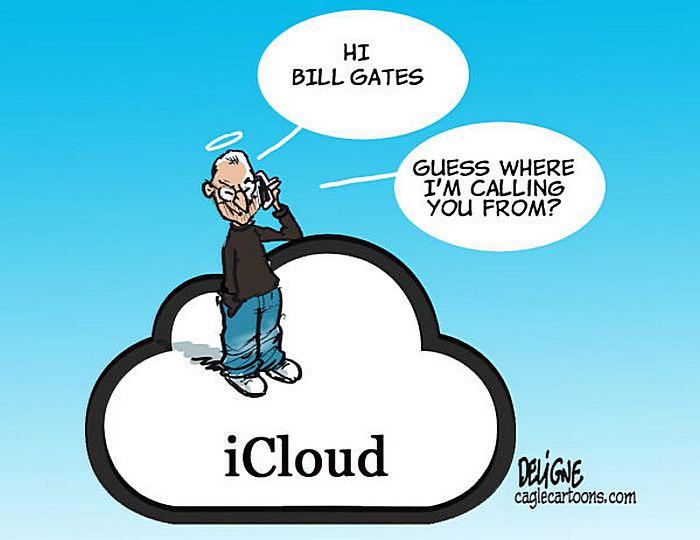 Айфон принимает и на небе. Рисунки художников-карикатуристов в память об экс-главе «Эпл»