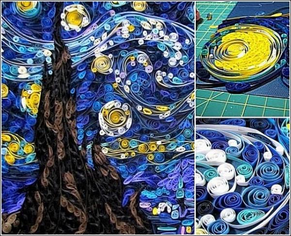 «Звездная ночь» Сьюзи Майерс из полосок бумаги