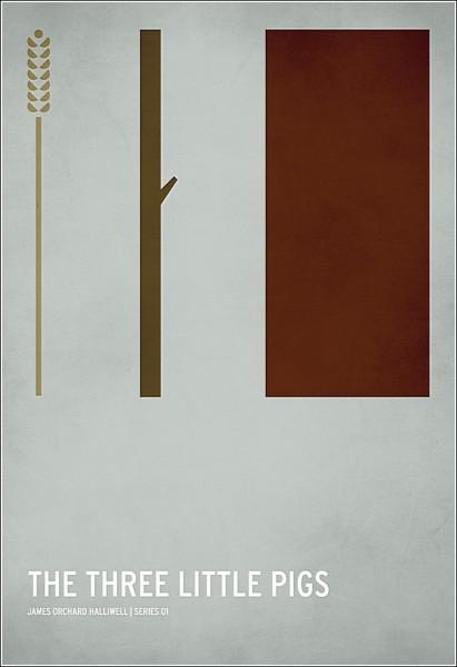 Остроумные минималистичные плакаты: *Три поросенка*