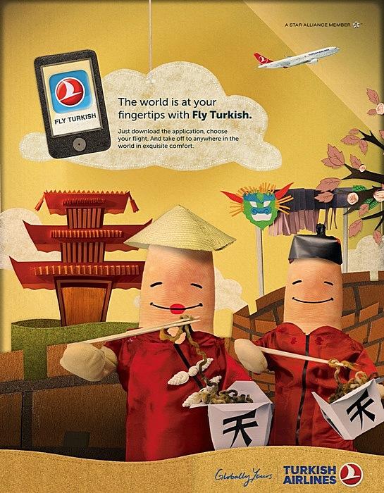 Китайские пальчики: оригинальная реклама авиакомпании