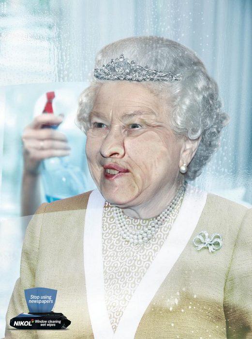 Королева в возмущении: креативная реклама салфеток для мытья окон