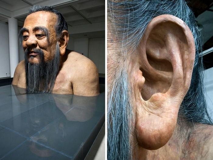 Современная скульптура древнего мыслителя: ухо Конфуция