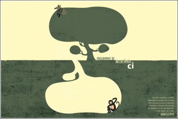 Ироничная зарубежная реклама: под землей - антидерево, но что там делать обезьяне?