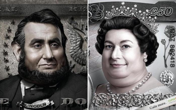 Банкноты с процентами: креативные плакаты выгодного обменника