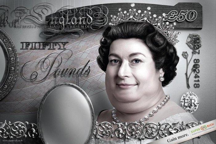 Елизавета Вторая с процентами: креативные плакаты выгодного обменника
