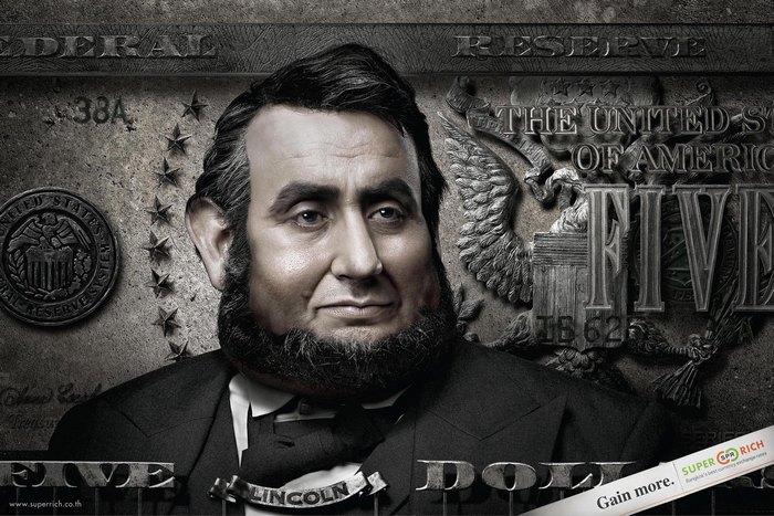 Авраам Линкольн с процентами: креативные плакаты выгодного обменника