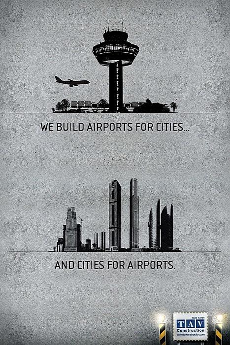 Аэропорт и город: оригинальная реклама строительной компании