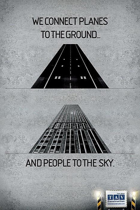 Дорога и небоскреб: оригинальная реклама строительной компании