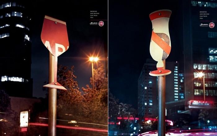 Резьба по дорожным знакам: социальная кампания против пьяных за рулем