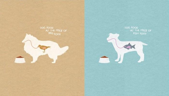 Чтобы пес ел как птичка и молчал как рыбка: заманчивая реклама собачьего корма