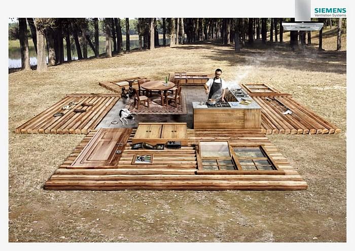 Готовка в лесу: реклама вентиляции для кухни