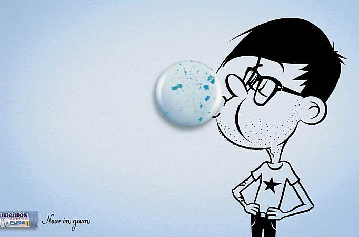 Конфета вместо пузыря: забавная реклама «Ментоса»